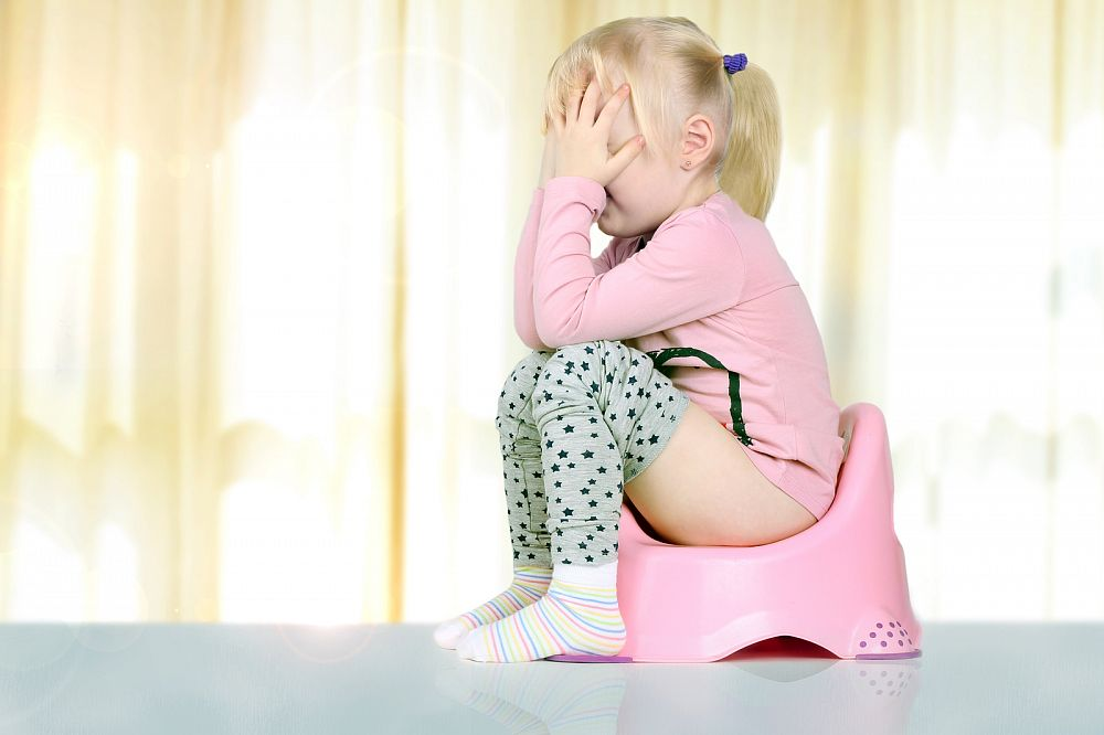 маленькая девочка плачет на горшке